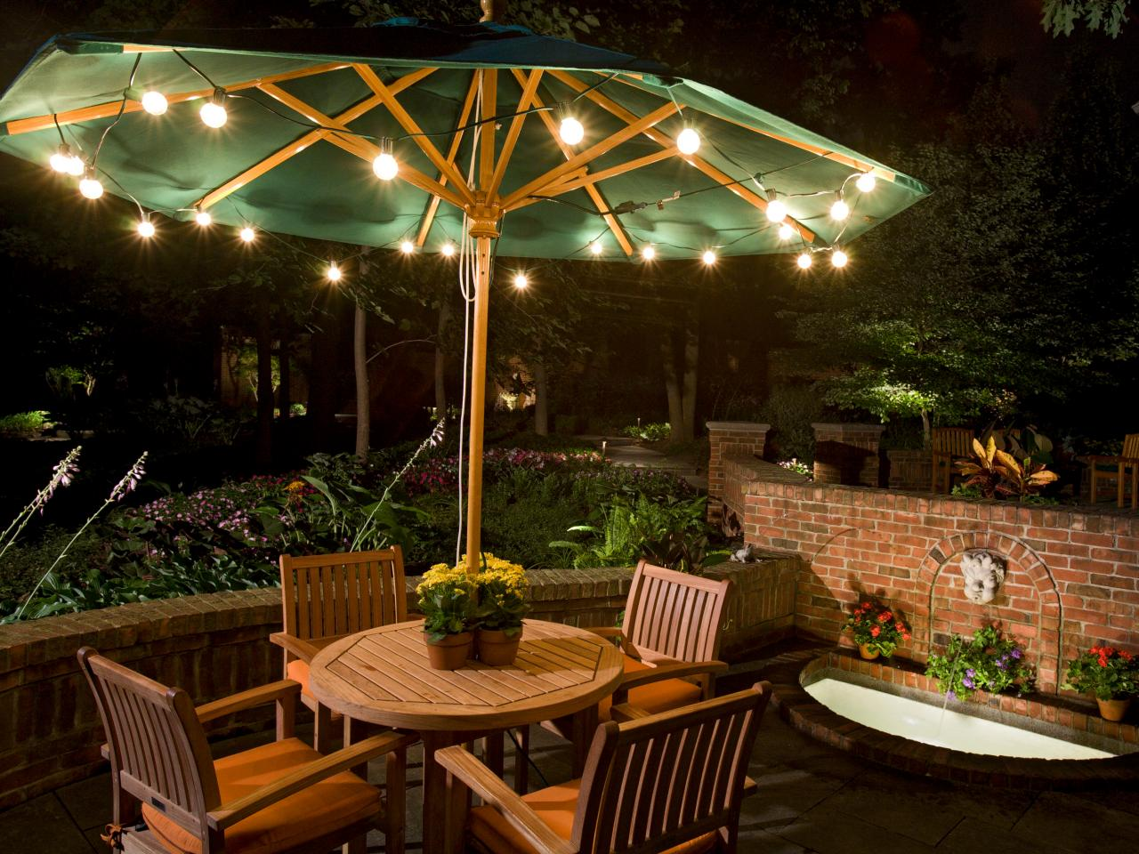 Image of: Outdoor Battery Operated Umbrella Porch Lights