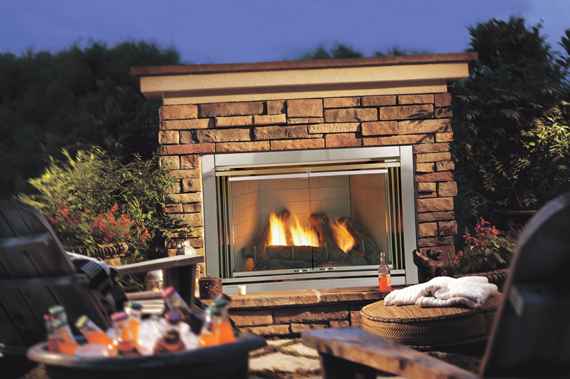 Image of: Outdoor Gas Fireplace Logs