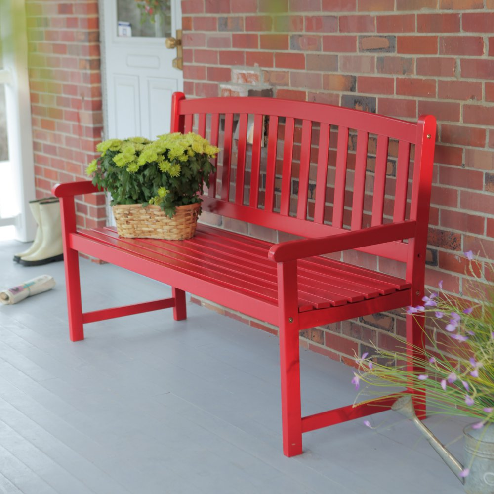 Image of: Red Front Porch Benches