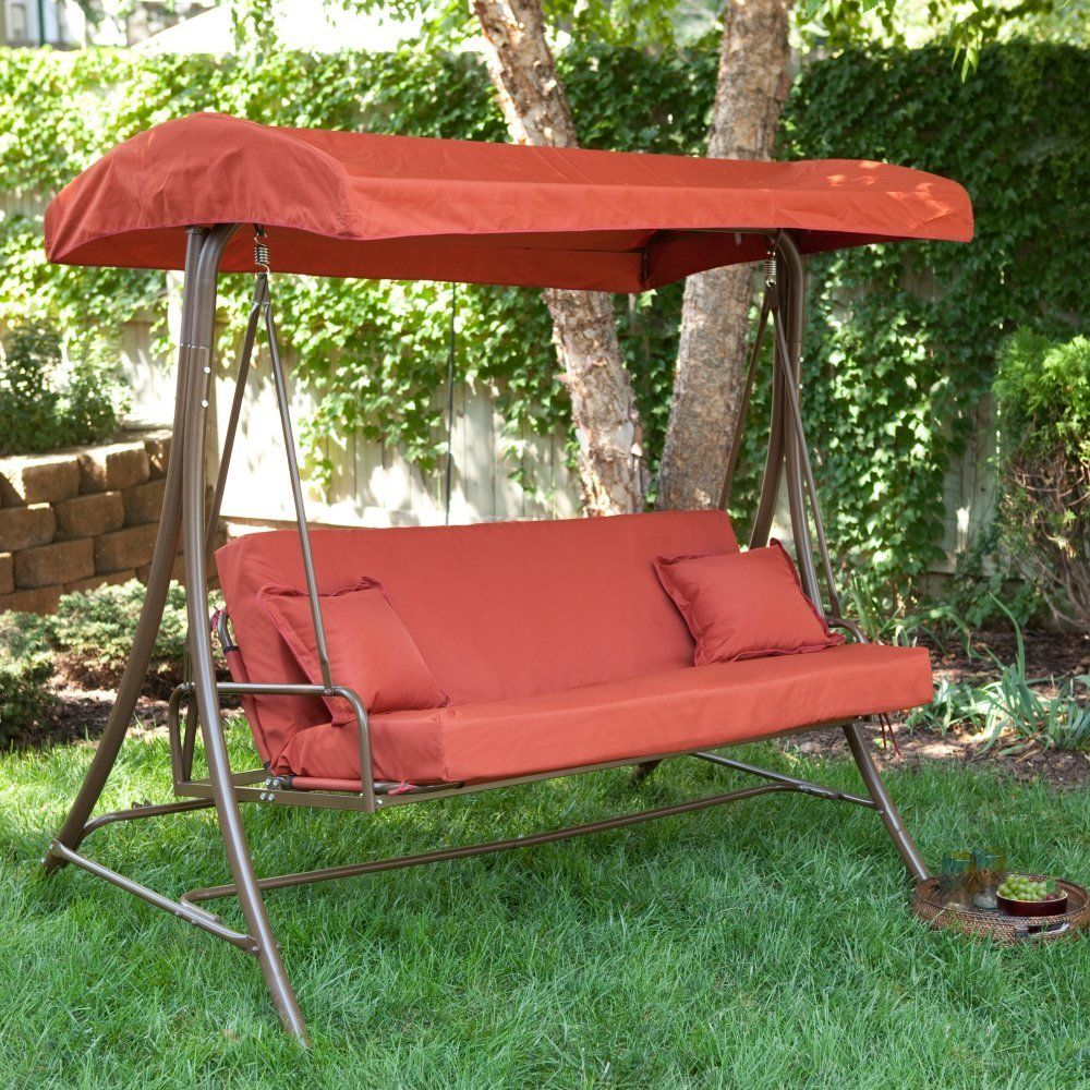 Image of: Red Glider Porch Swing