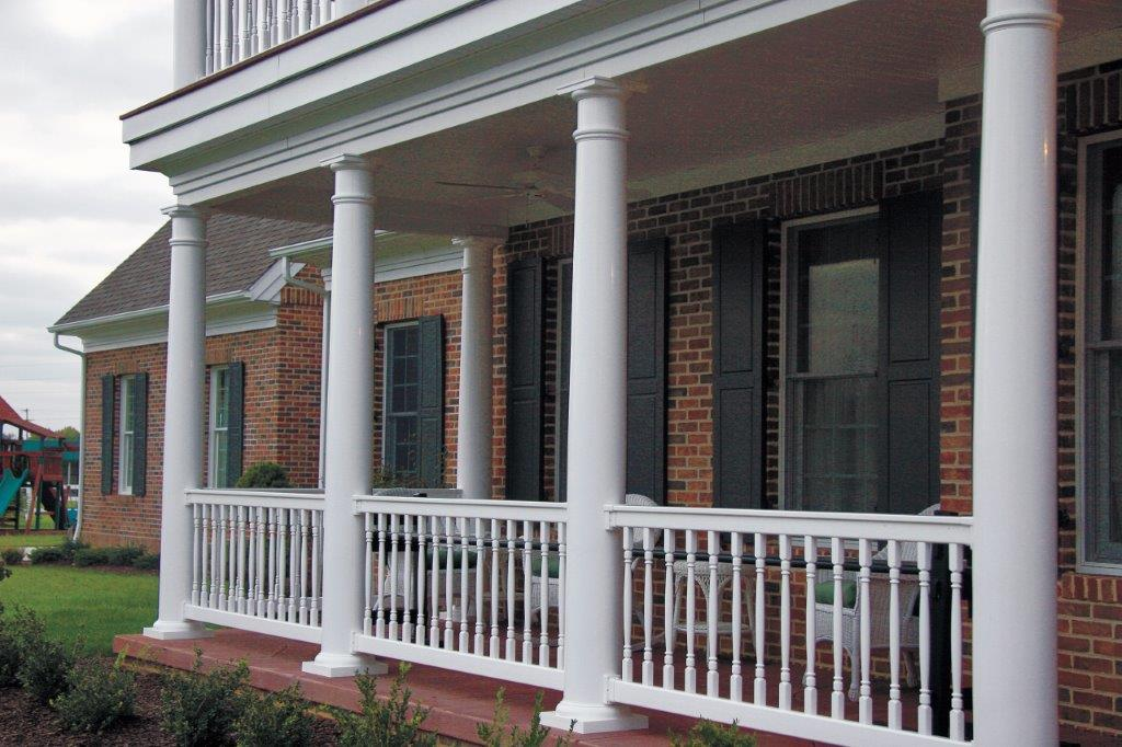 Image of: Round Porch Columns Rails