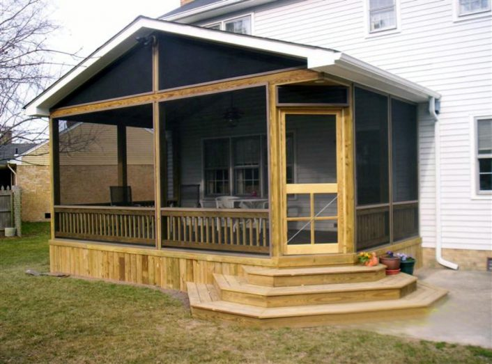 Screened In Porch Design with Fireplace