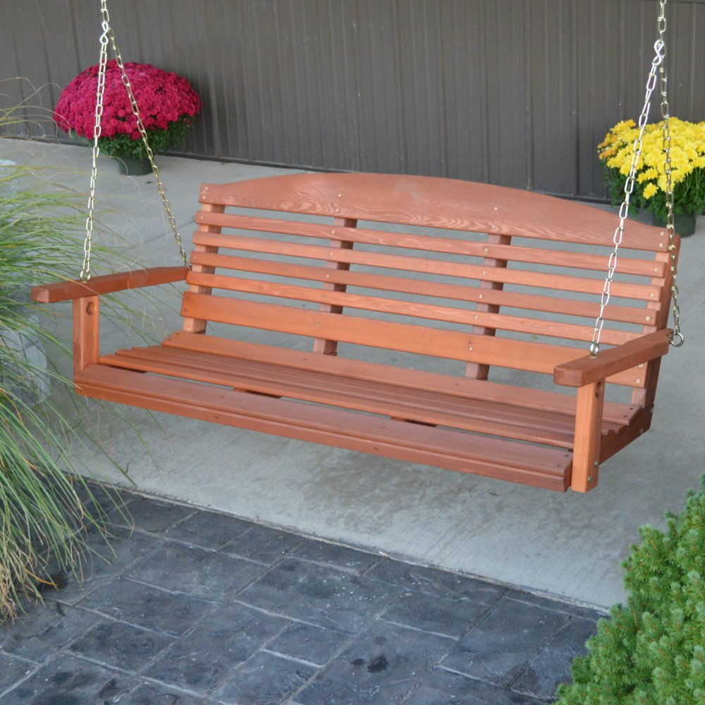 Image of: Simple Cedar Porch Swing