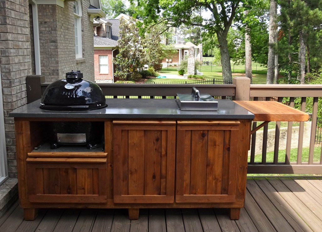 Image of: Top Big Green Egg Built In Outdoor Kitchen