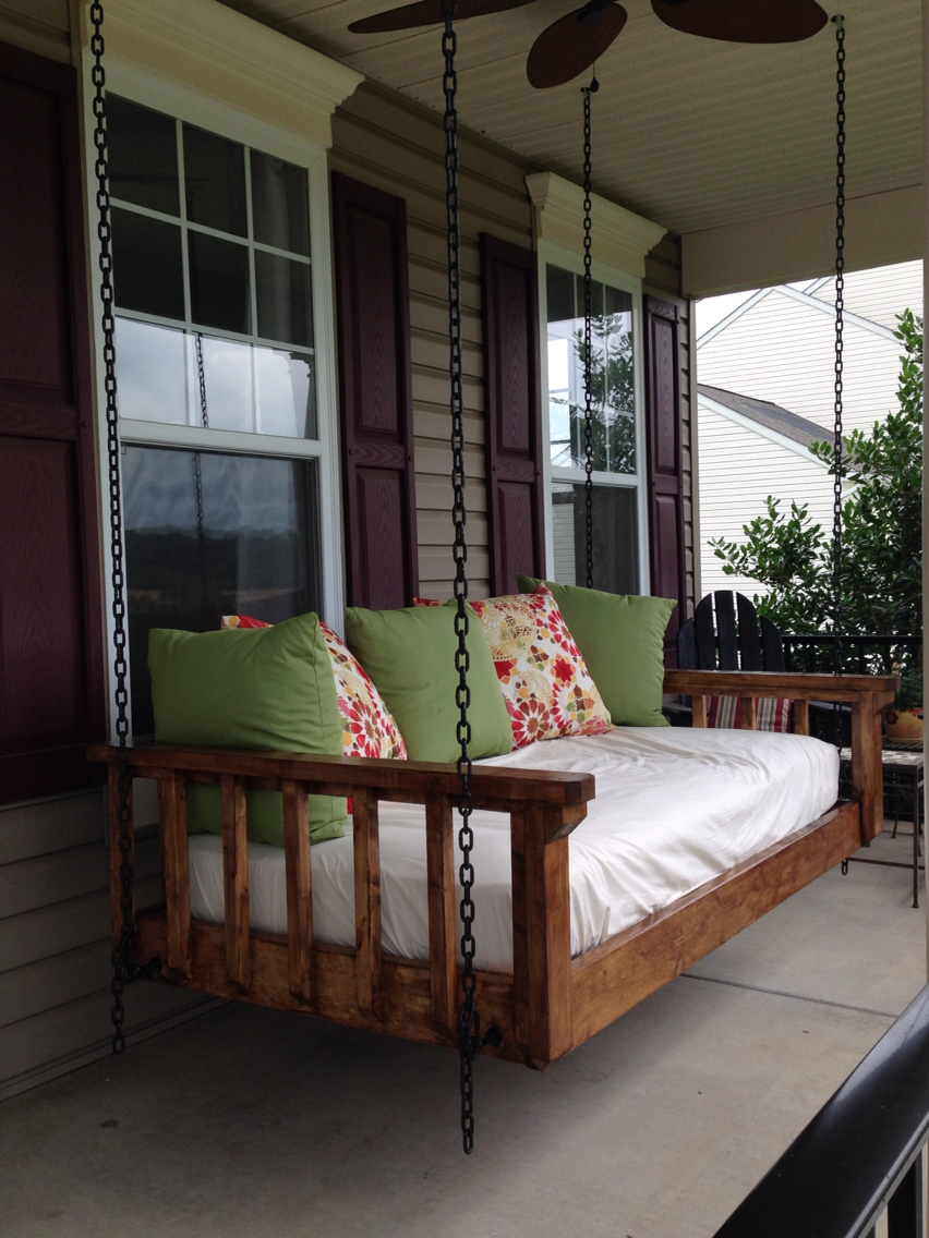 Image of: Turned Diy Porch Swing Bed