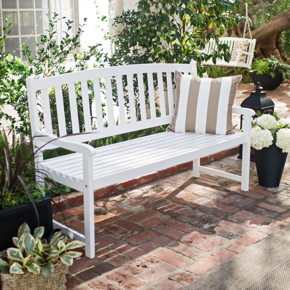 Image of: White Front Porch Benches