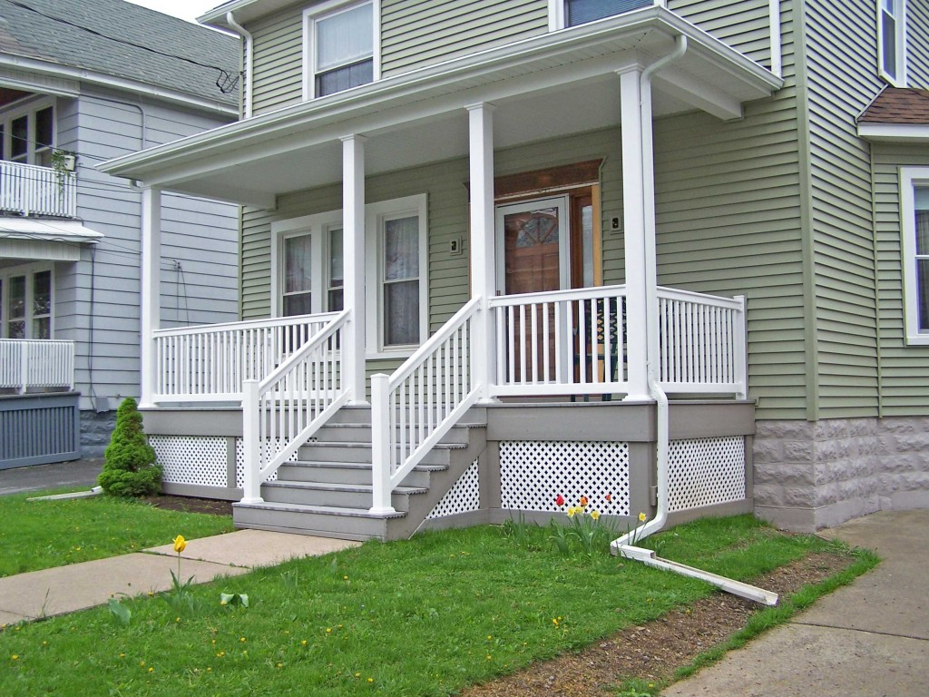 White Front Porch Handrails