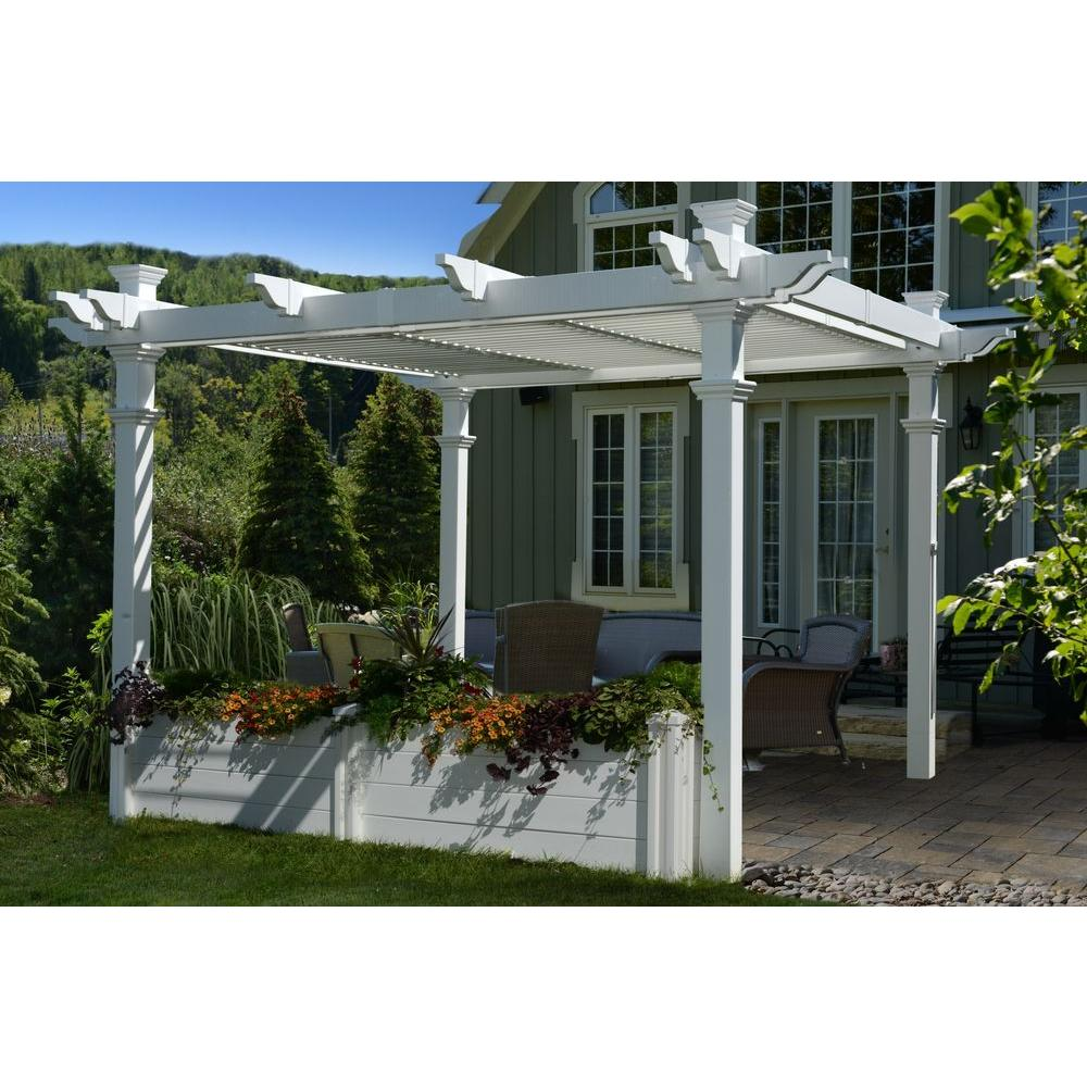 Image of: White Front Porch Pergola
