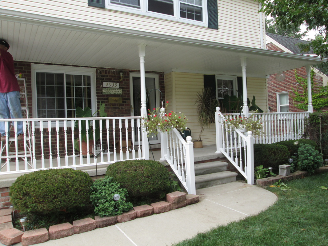 Image of: White Front Porch Railings