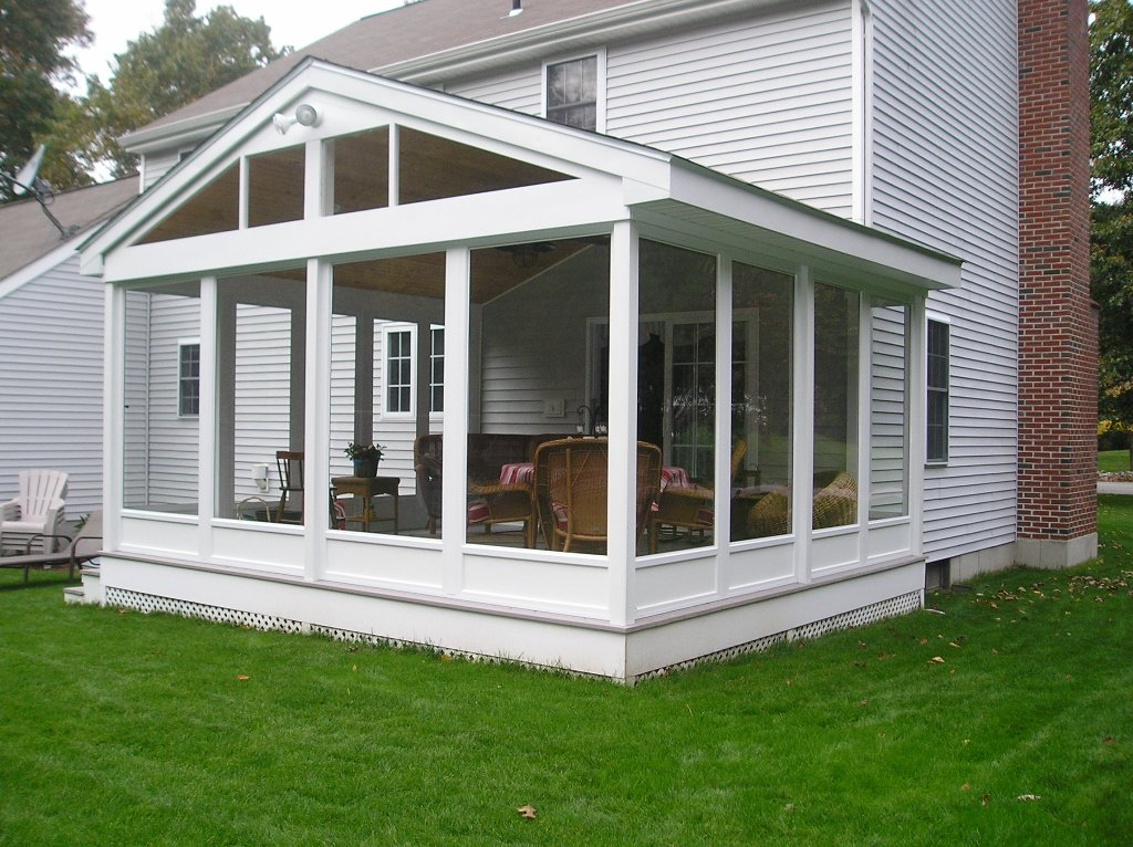 Image of: White Glassed In Porch