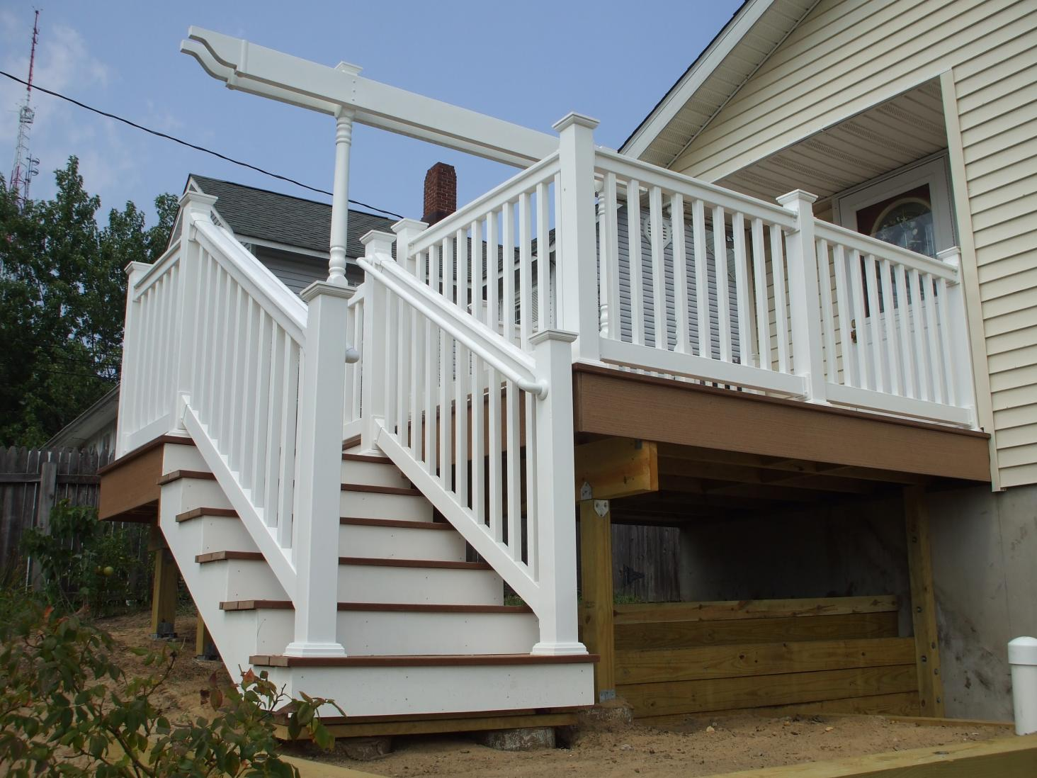 Image of: White Handrails For Porch Steps