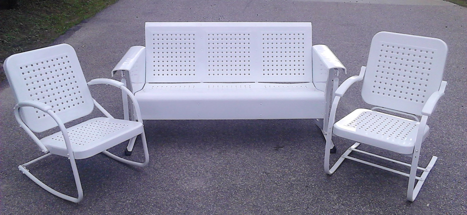 Image of: White Metal Porch Glider