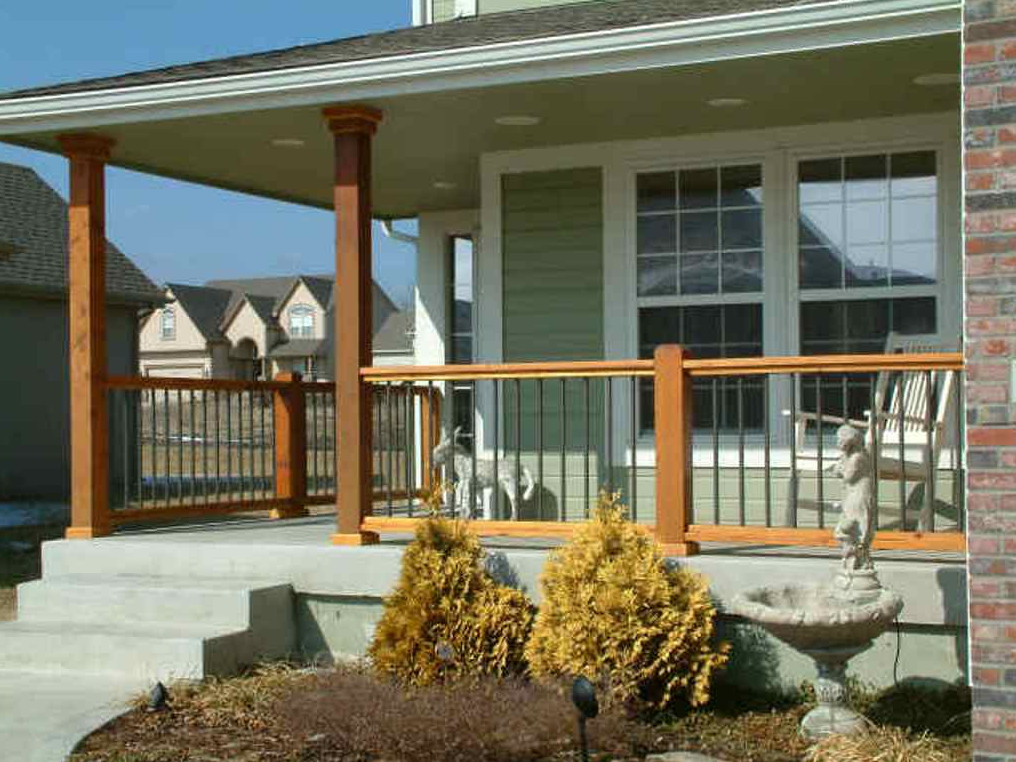 Image of: Wood And Iron Porch Railing