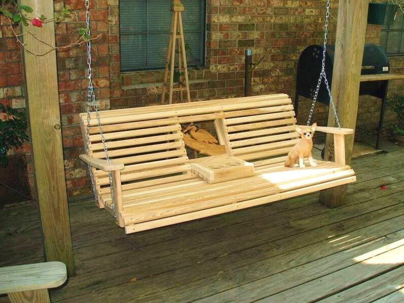 Image of: Wood Log Porch Swing