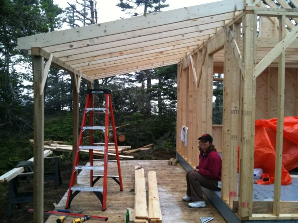 Image of: Wood Porch Roof Framing