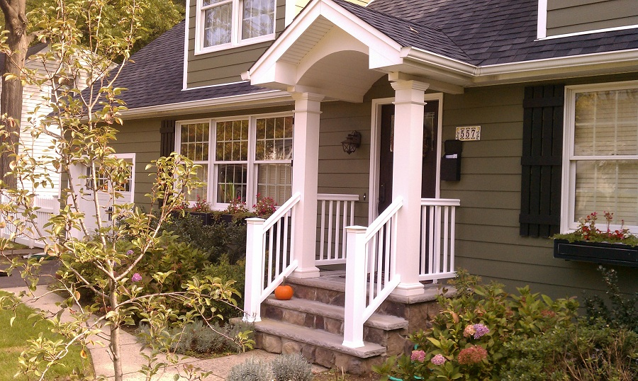 Image of: Wooden Front Porch Railings