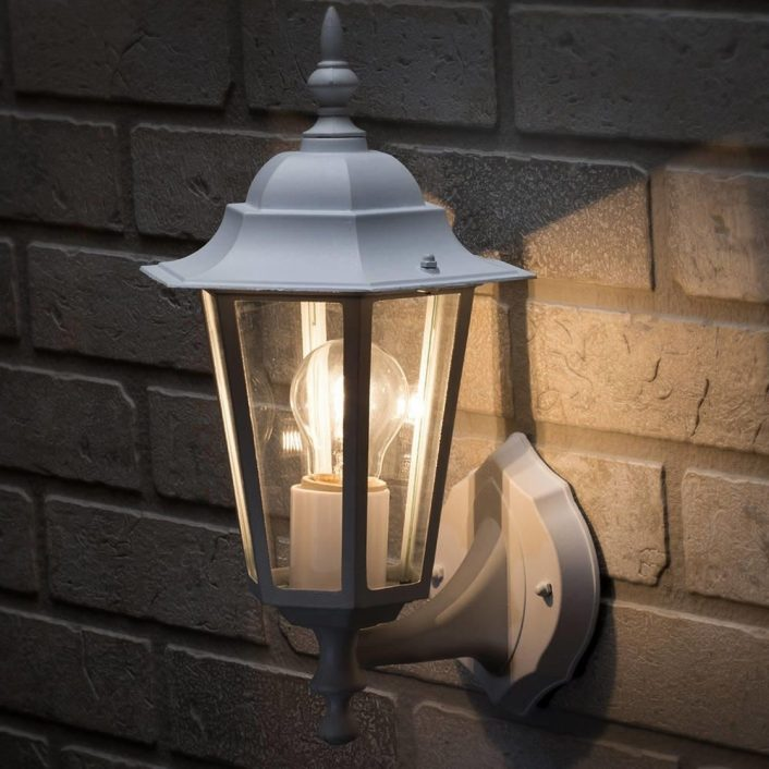 Arun 1 Light Outdoor Wall Light White From Litecraft Throughout Traditional Outdoor Wall Lights Nice Ideas For Traditional Outdoor Wall Lights