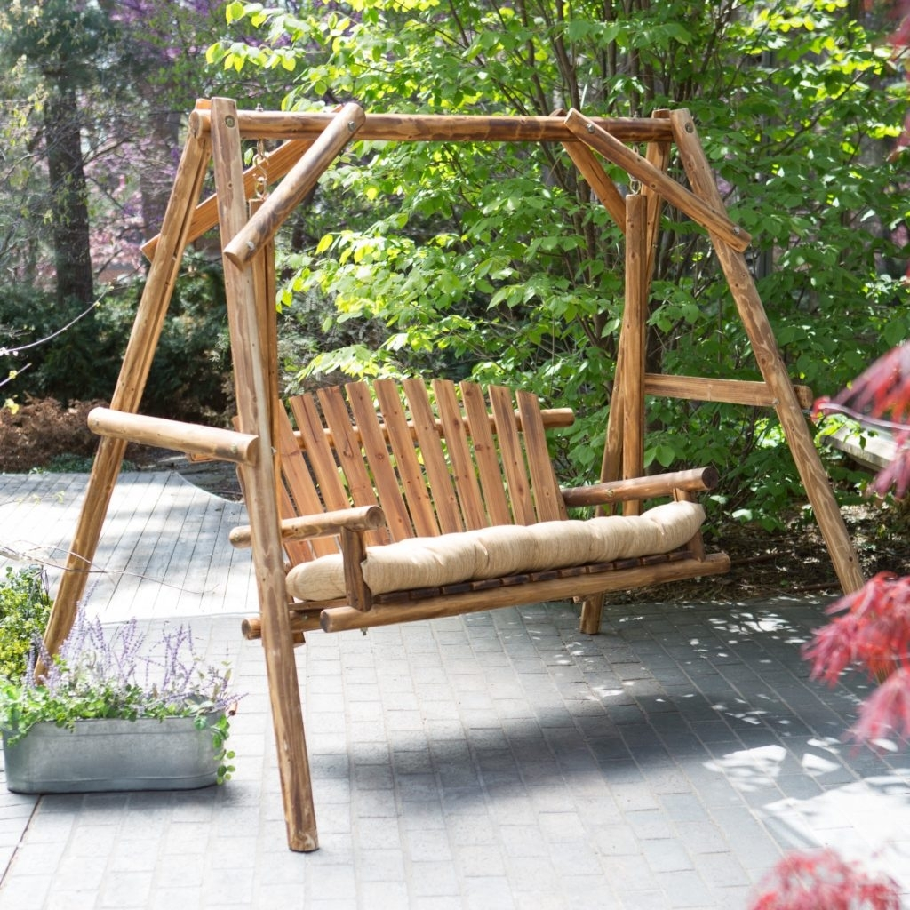 Image of: Backyard Patio Splendidferous Magenta Lowes Patio Swing For In Wooden Garden Swing Seats Outdoor Furniture Fun Wooden Garden Swing Seats Outdoor Furniture