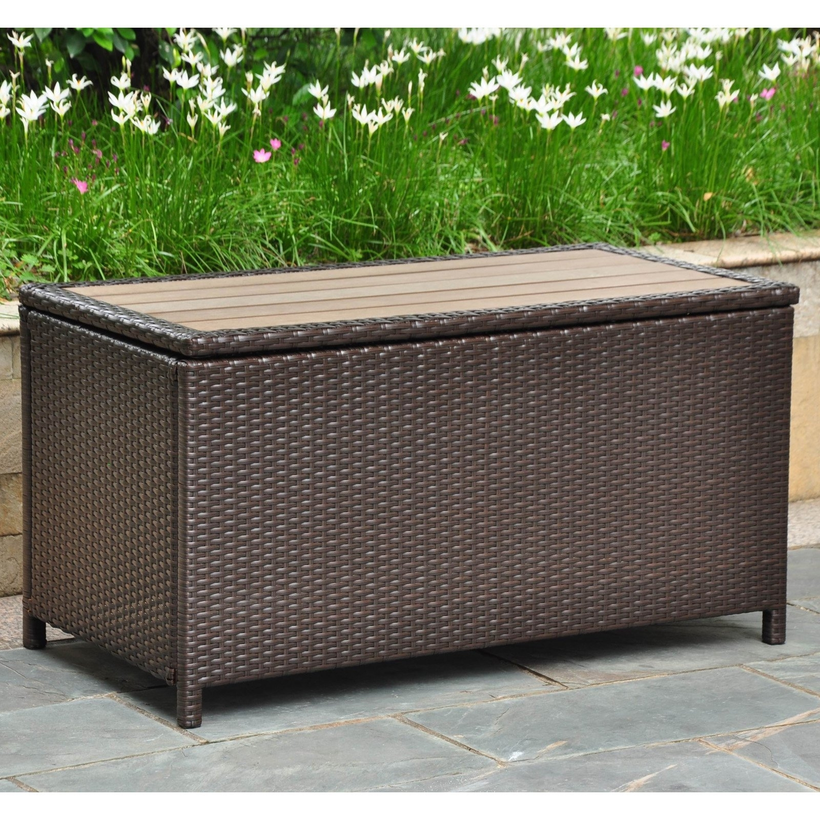 Image of: Belham Living Bayport Outdoor Storage Deck Box With Acacia Top Pertaining To Storage For Outdoor Cushions Store Storage For Outdoor Cushions