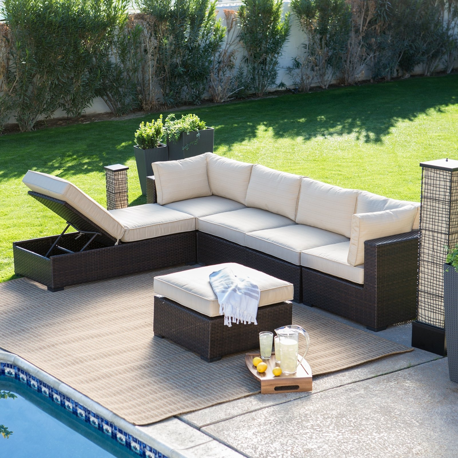 Image of: Belham Living Monticello All Weather Outdoor Wicker Sofa Sectional Regarding Commercial Outdoor Pool Furniture Good Commercial Outdoor Pool Furniture