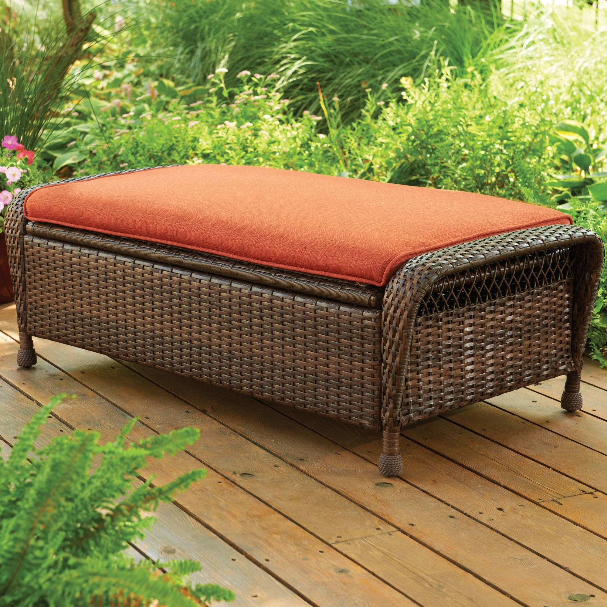 Image of: Better Homes And Gardens Azalea Ridge Storage Ottoman Walmart Throughout Storage For Outdoor Cushions Store Storage For Outdoor Cushions