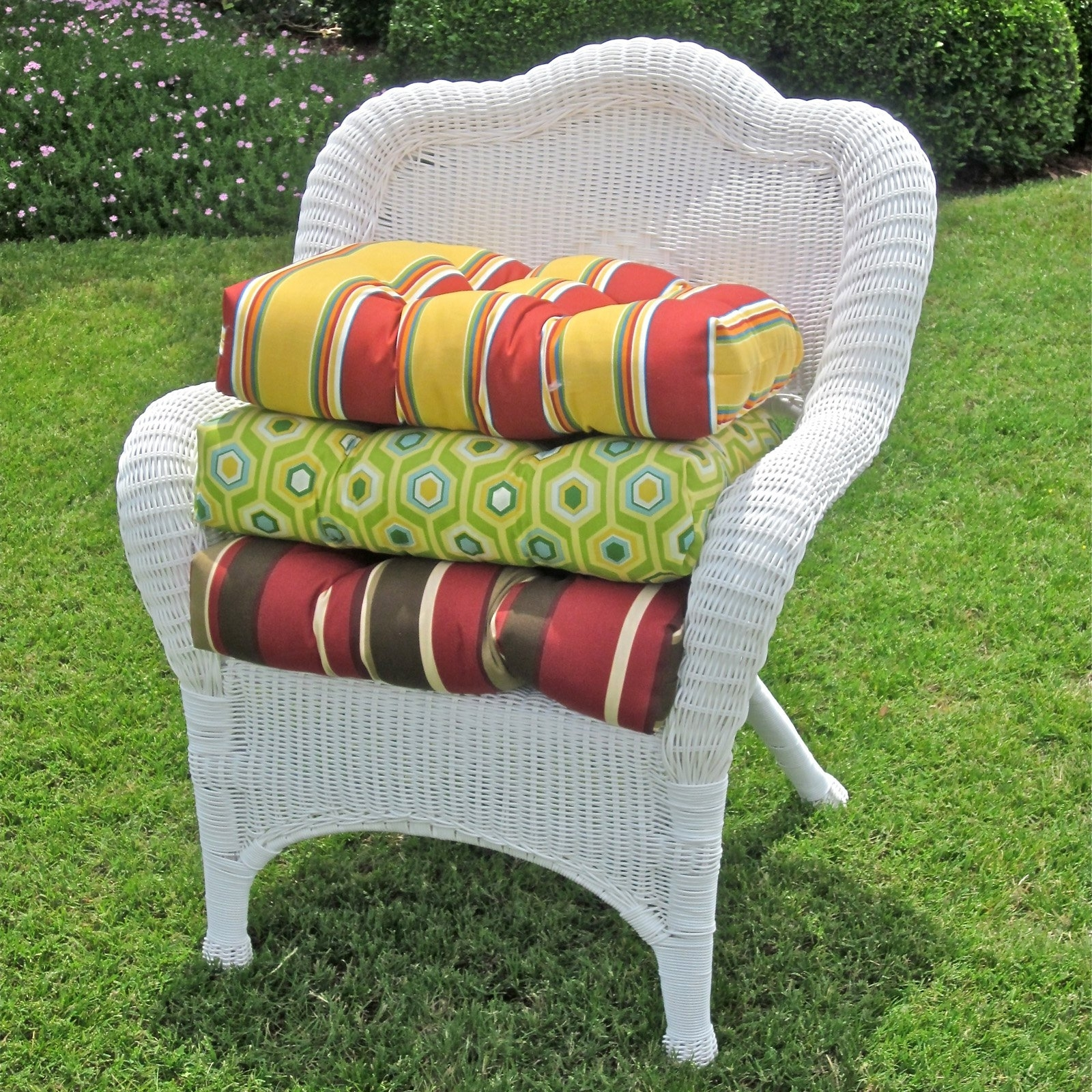 Image of: Blazing Needles 19 X 19 In Outdoor Wicker Chair Cushion Hayneedle Pertaining To Outdoor Wicker Furniture Cushions Warmth Outdoor Wicker Furniture Cushions