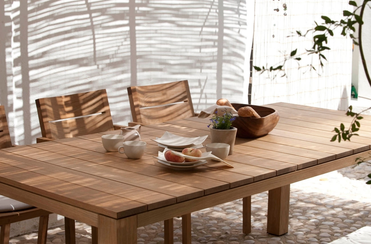Image of: Contemporary Dining Table Teak Rectangular Round Kos Throughout Modern Teak Outdoor Furniture How To Care Modern Teak Outdoor Furniture