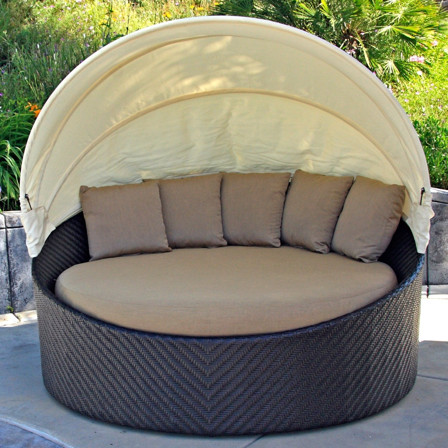 Image of: Decorating Elegant Brown Sunbrella Outdoor Cushions For Cozy With Regard To Outdoor Round Bistro Cushions Outdoor Round Bistro Cushions