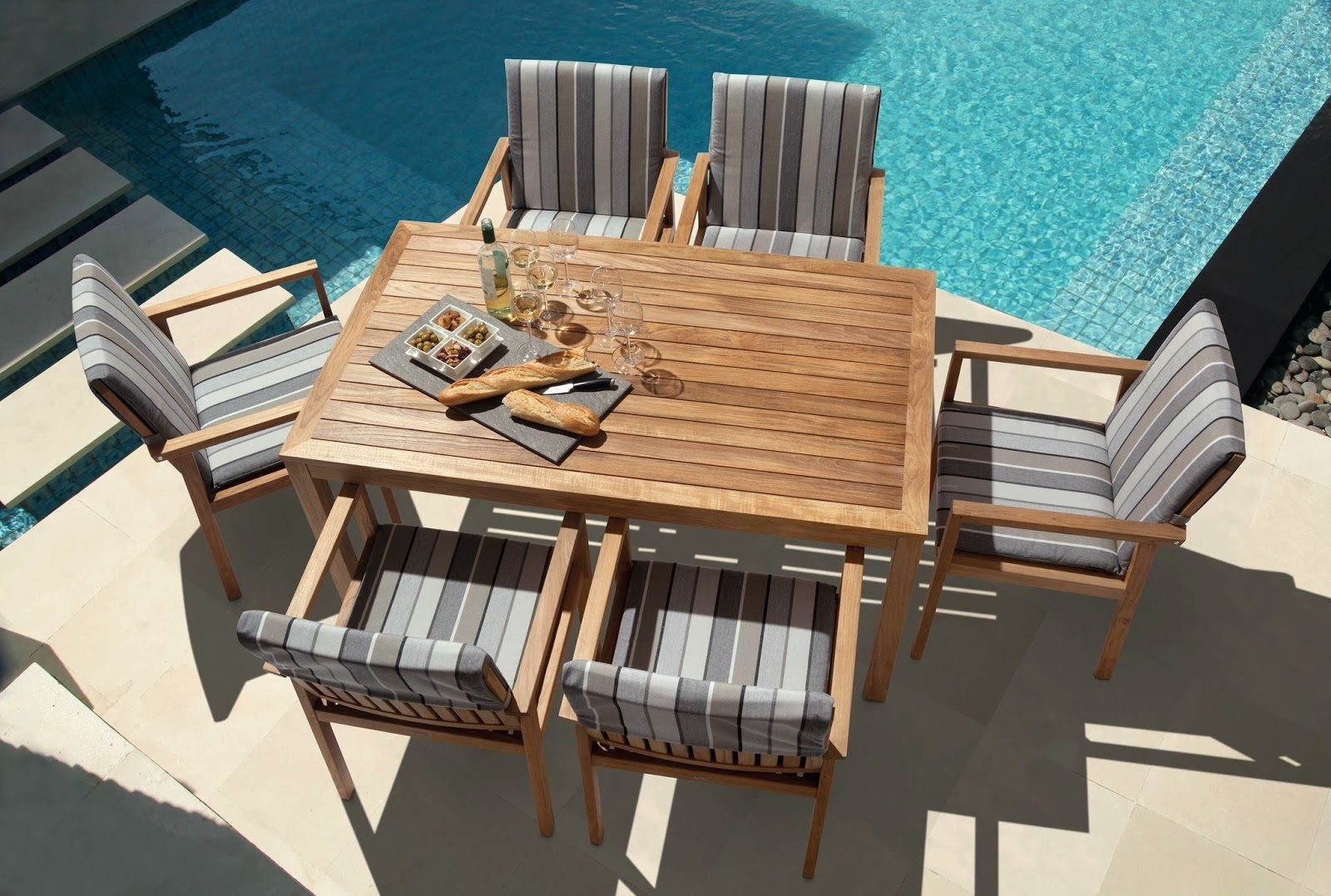 Image of: Furniture Modern White Outdoor Furniture With Modern Dining Table With Modern Teak Outdoor Furniture How To Care Modern Teak Outdoor Furniture
