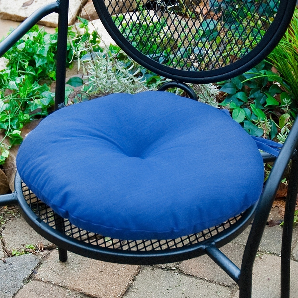 Image of: Greendale Home Fashions 15 In Round Outdoor Bistro Chair Cushion In Outdoor Round Bistro Cushions Outdoor Round Bistro Cushions