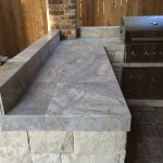 Houston Outdoor Kitchen With Silver Travertine Tile Countertop Intended For Outdoor Kitchen Granite Countertops Outdoor Kitchen Granite Countertops Design