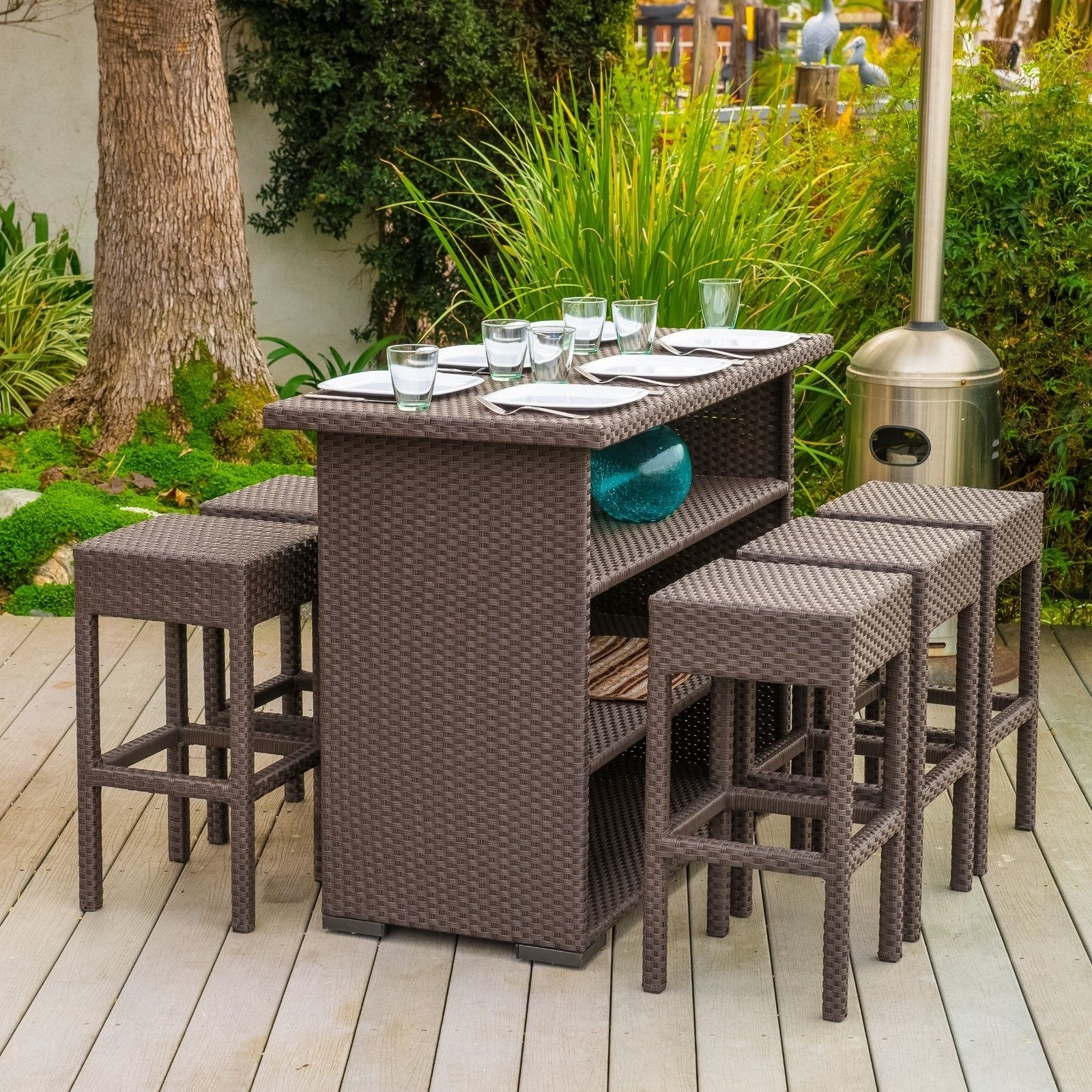 Image of: Outdoor Wicker Bar Stools Intended For Bar Stool Outdoor Furniture