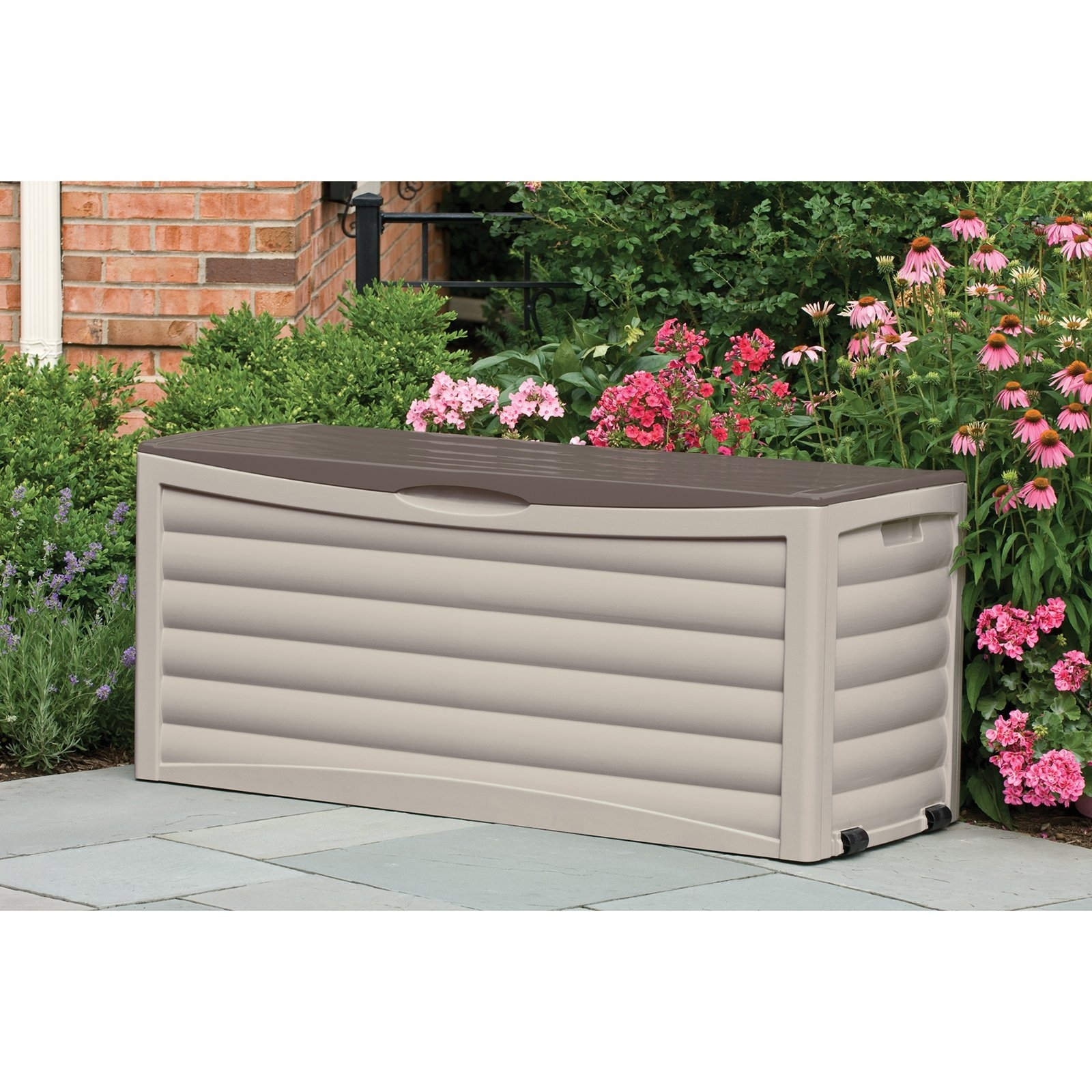 Image of: Keter Brightwood Resin 120 Gallon Outdoor Storage Deck Box Hayneedle Pertaining To Storage For Outdoor Cushions Store Storage For Outdoor Cushions