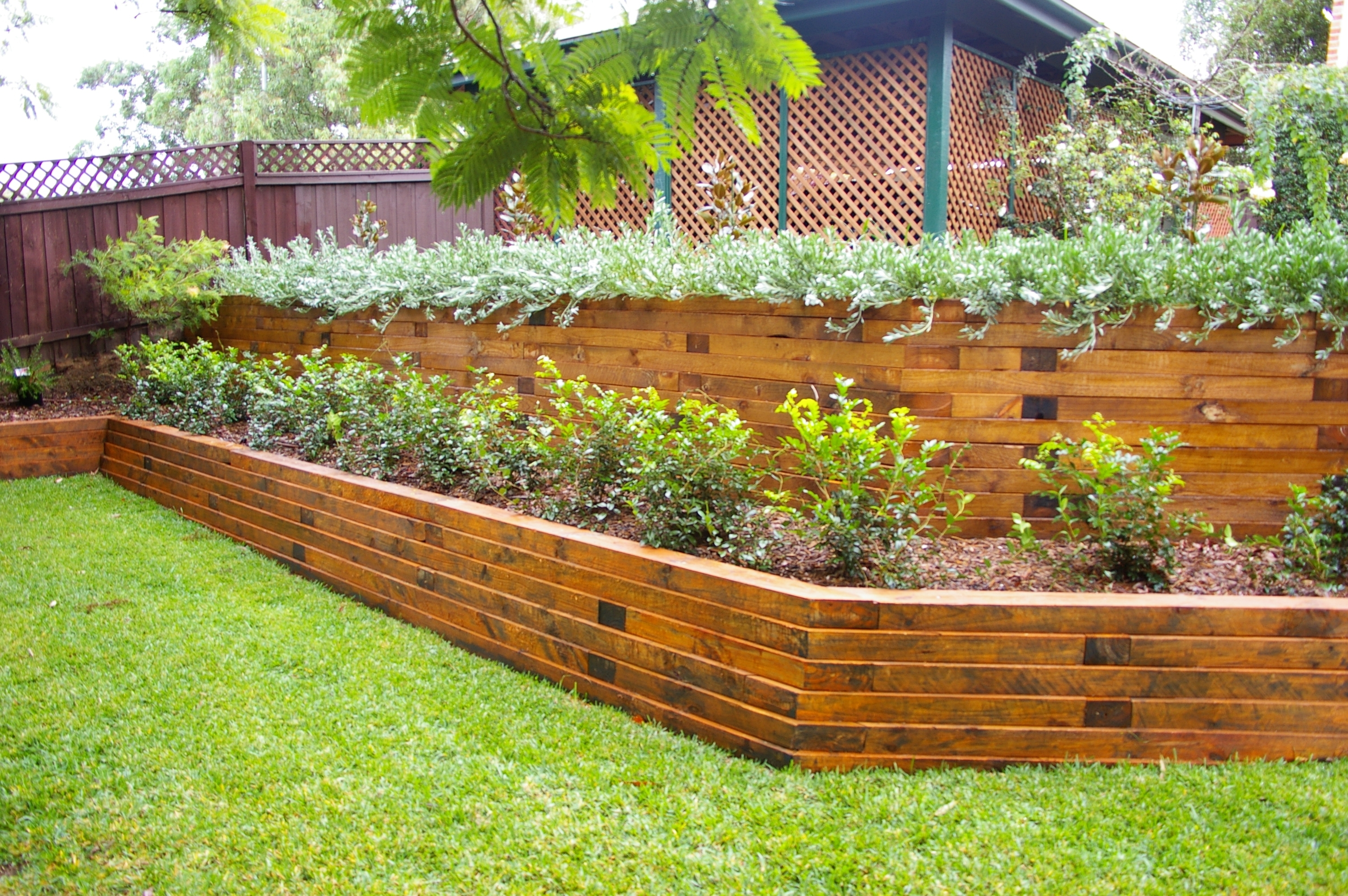 Image of: Landscape Timber Retaining Wall Images Home Furniture Ideas Within Landscape Timbers Retaining Wall Durable Landscape Timbers Retaining Wall For Great Decoration