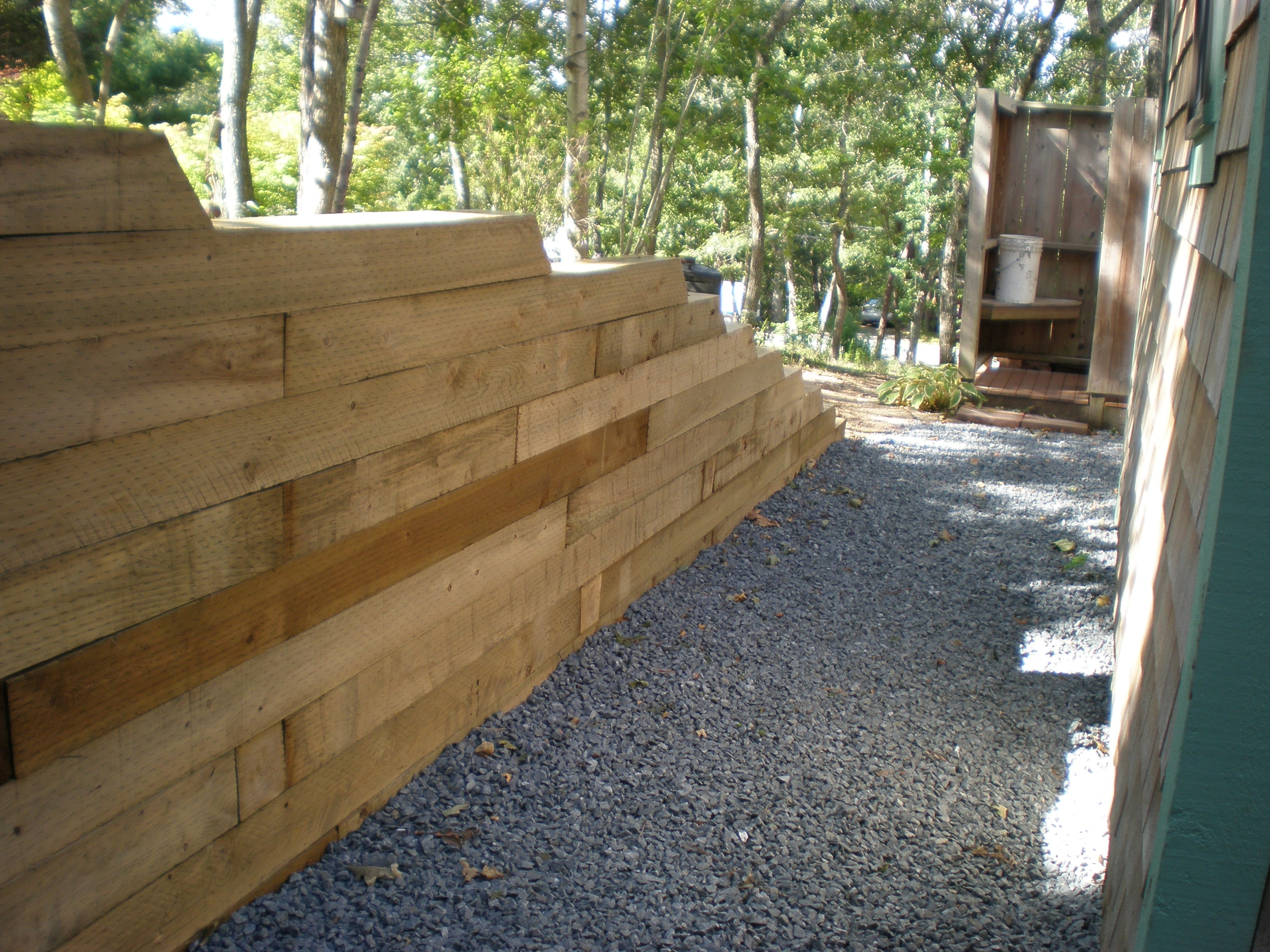 Image of: Landscape Timber Retaining Wall Meyer Landscapes Regarding Landscape Timbers Retaining Wall Durable Landscape Timbers Retaining Wall For Great Decoration