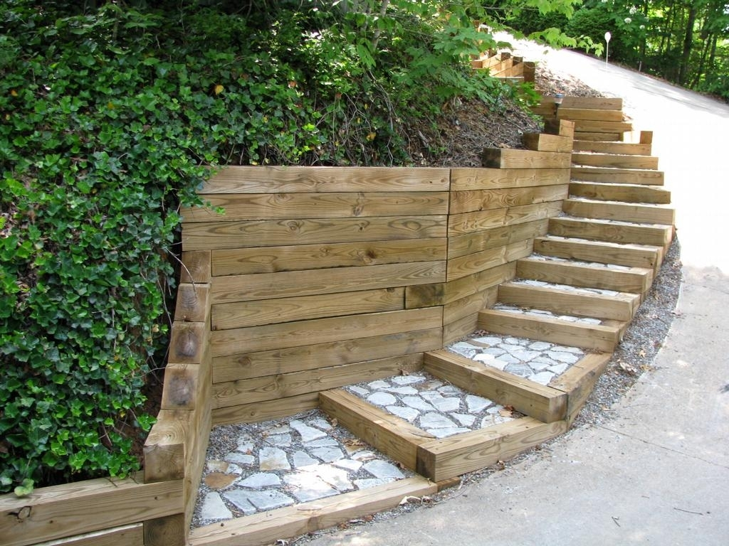 Image of: Landscaping Ties Ideas Design Ideas Decors Within Landscape Timbers Retaining Wall Durable Landscape Timbers Retaining Wall For Great Decoration