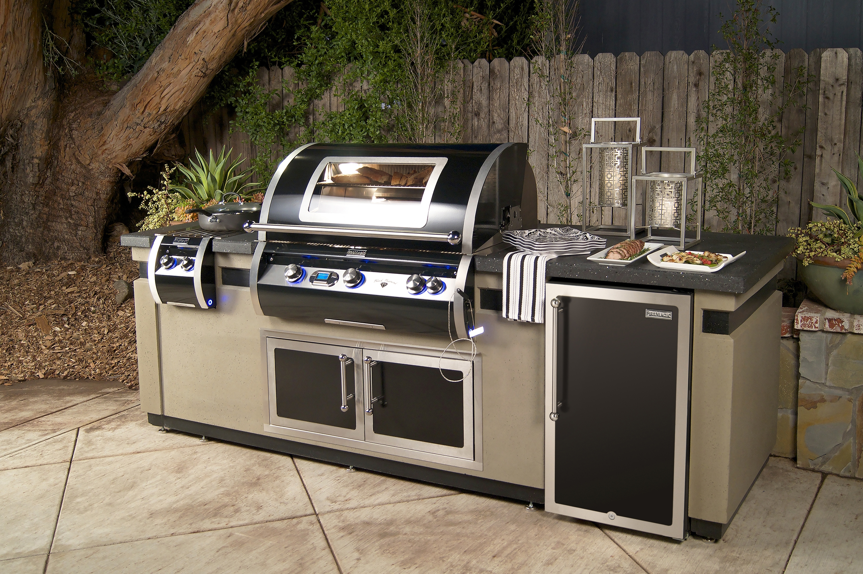 Image of: Magic Black Diamond Edition Island Component Ready Within Fire Magic Outdoor Kitchen Grill Fire Magic Outdoor Kitchen
