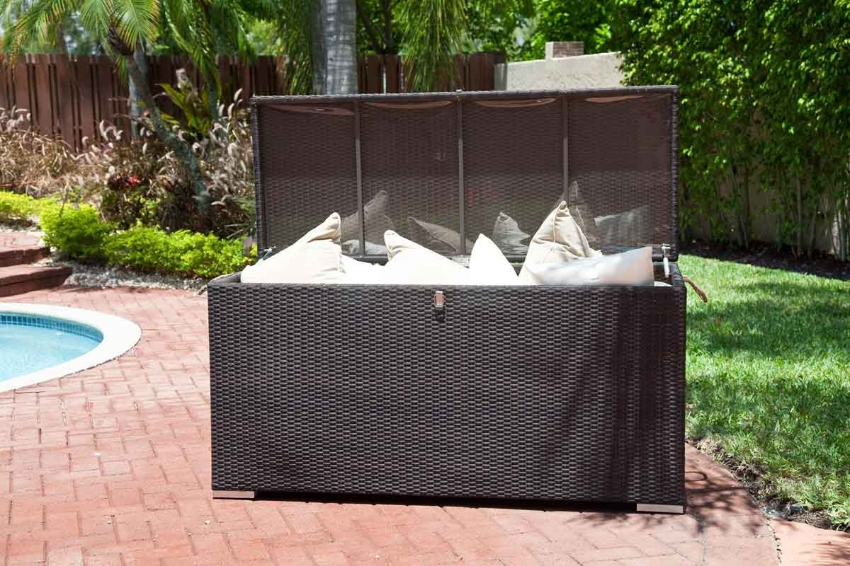 Image of: Outdoor Cushion Buying Guide Materials Foam Padding With Storage For Outdoor Cushions Store Storage For Outdoor Cushions