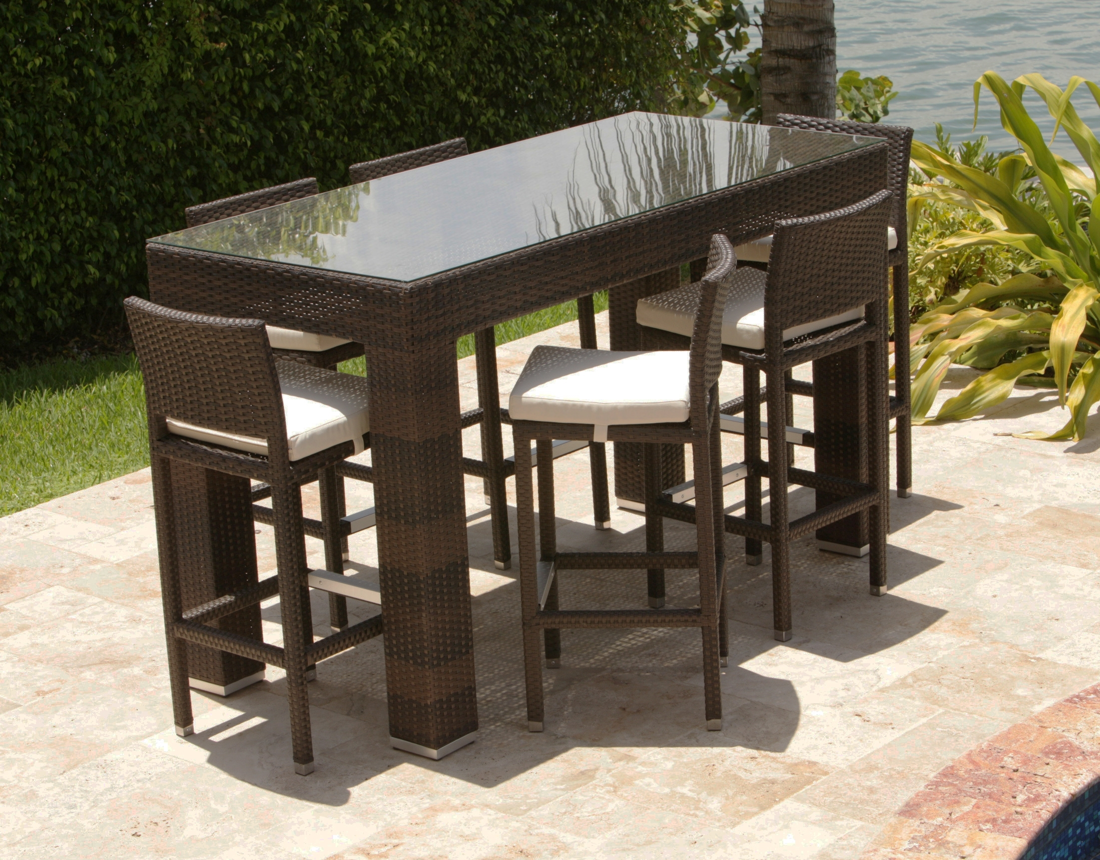 Image of: Custom Consortium With Bar Stool Outdoor Furniture
