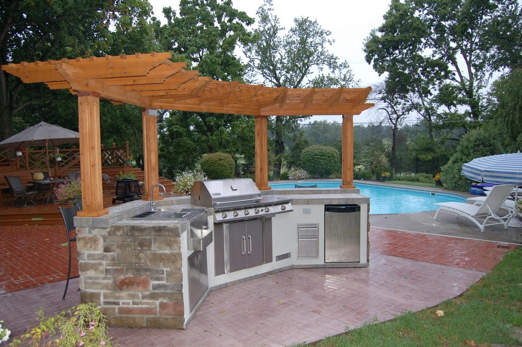 Image of: Outdoor Kitchen And Pool Ideas Pertaining To Outdoor Kitchen With Pool Awesome Home Outdoor Kitchen With Pool
