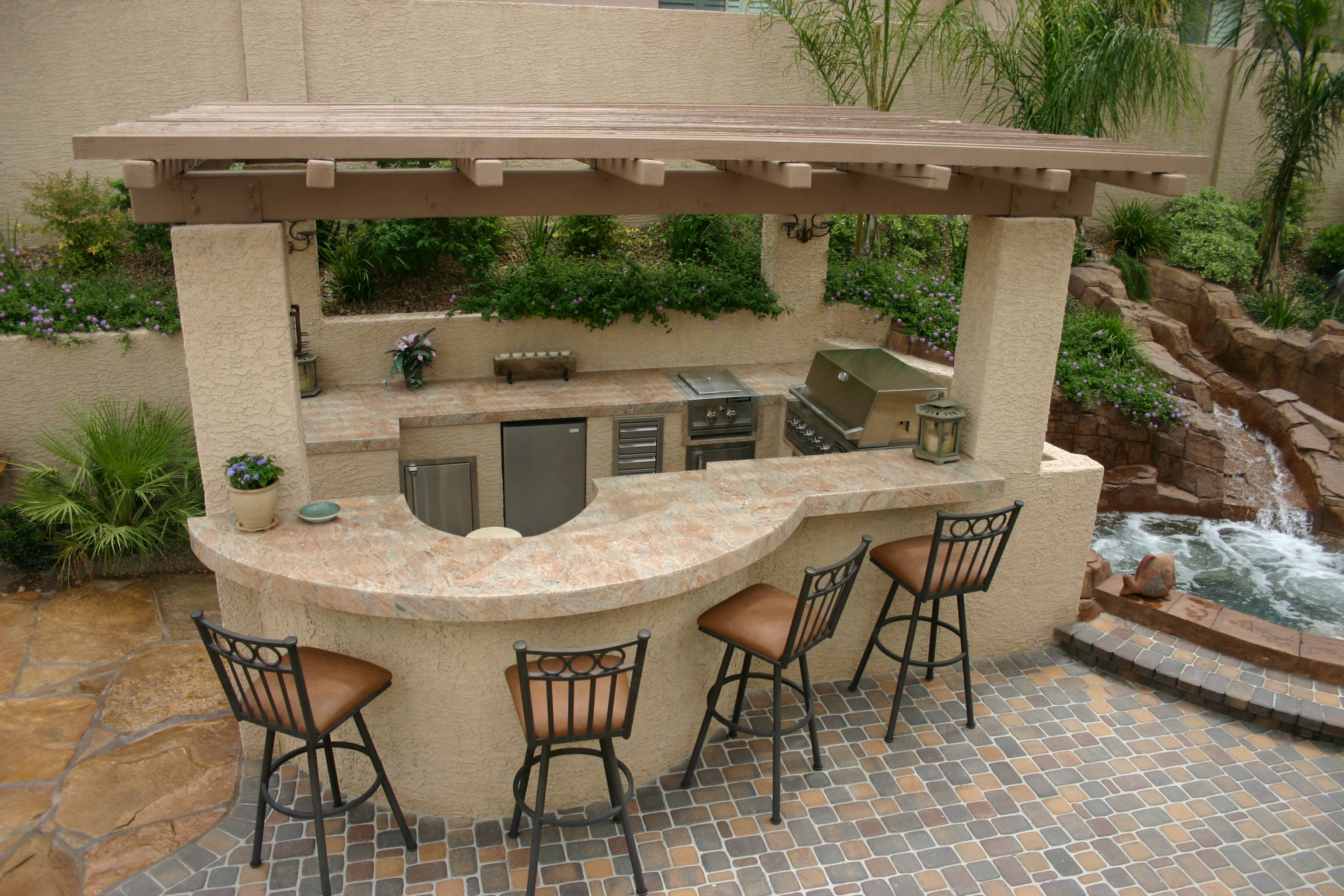 Image of: Polynesian Swimming Pools Outdoor Kitchens Archives Polynesian For Outdoor Kitchen With Pool Awesome Home Outdoor Kitchen With Pool