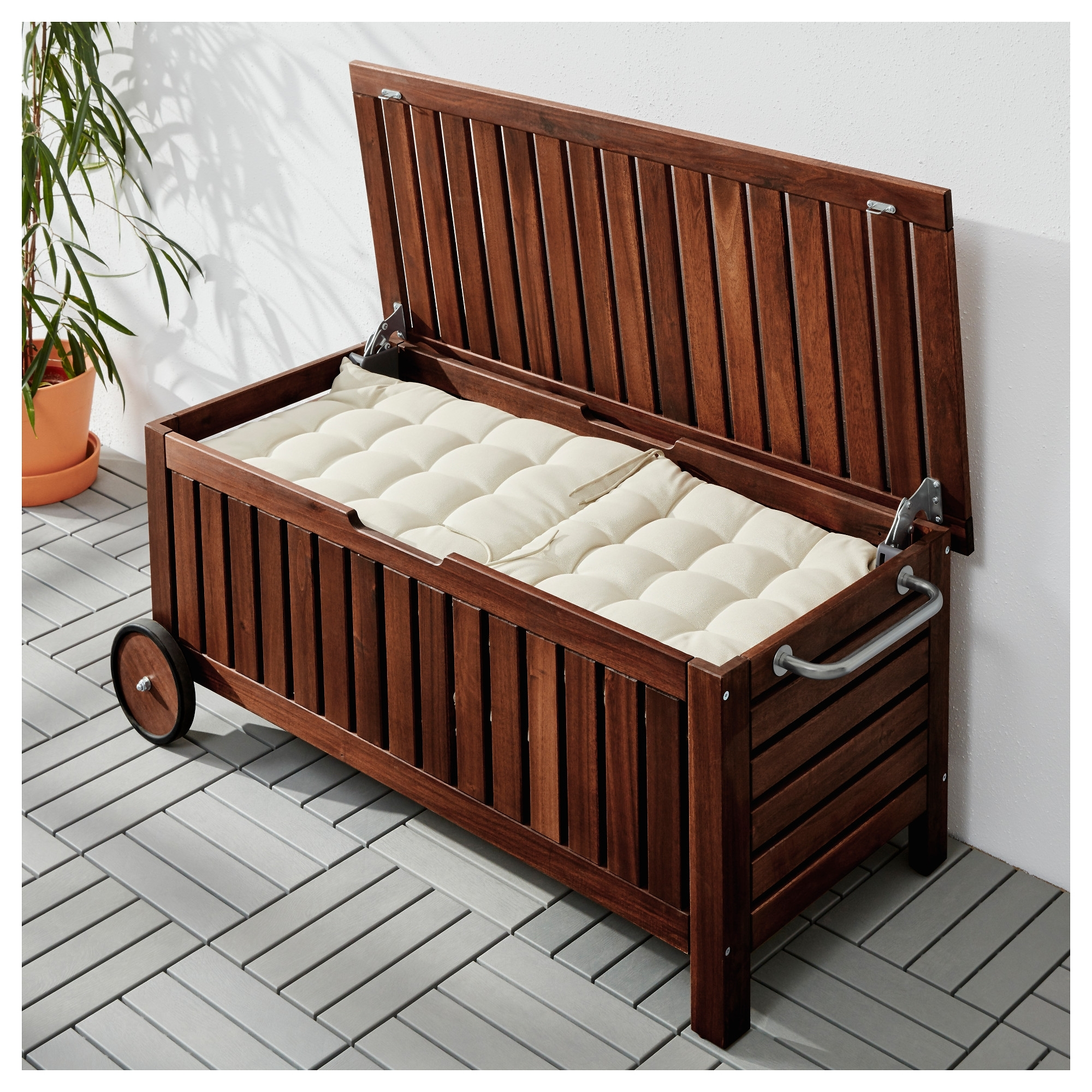 Image of: Pplar Storage Bench Outdoor Ikea Intended For Outdoor Cushion Storage Bench Classic Outdoor Cushion Storage Bench