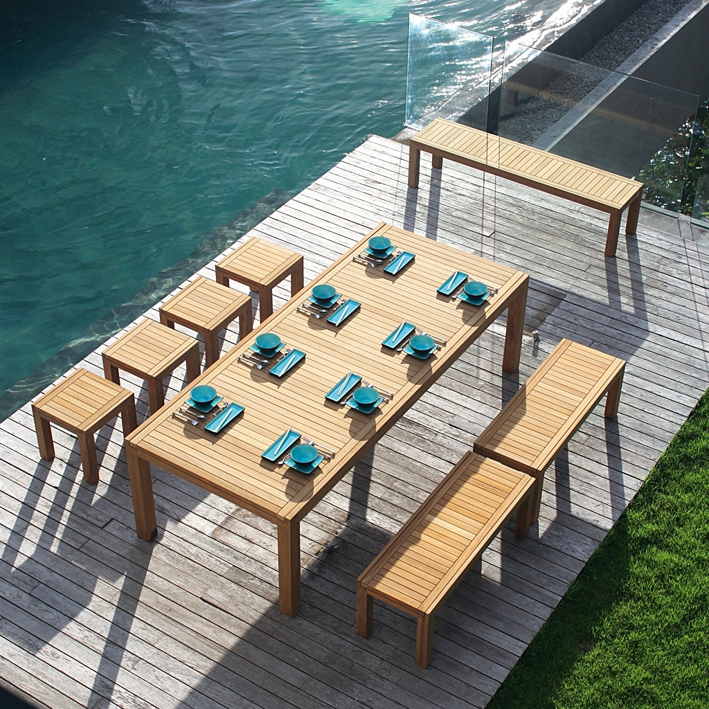Image of: Royal Botania Ixit Teak Garden Dining Furniture Luxury Quality Intended For Modern Teak Outdoor Furniture How To Care Modern Teak Outdoor Furniture