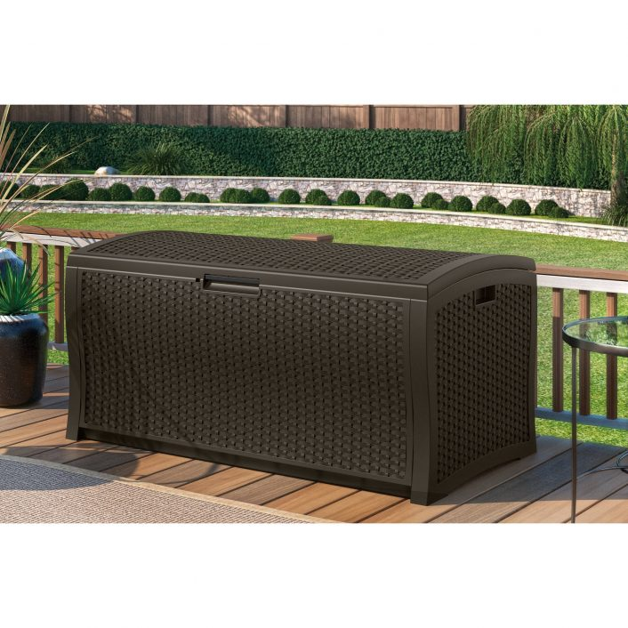 Suncast 103 Gallon Light Taupe Resin Deck Box Db10300 Walmart Throughout Storage For Outdoor Cushions Store Storage For Outdoor Cushions