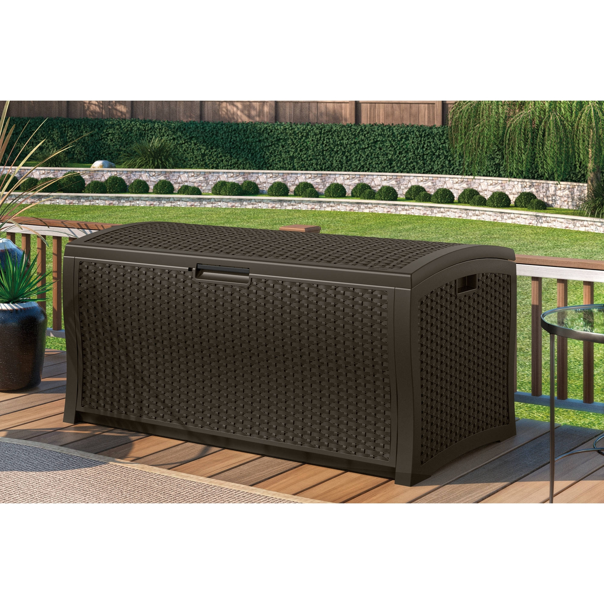 Image of: Suncast 103 Gallon Light Taupe Resin Deck Box Db10300 Walmart Throughout Storage For Outdoor Cushions Store Storage For Outdoor Cushions