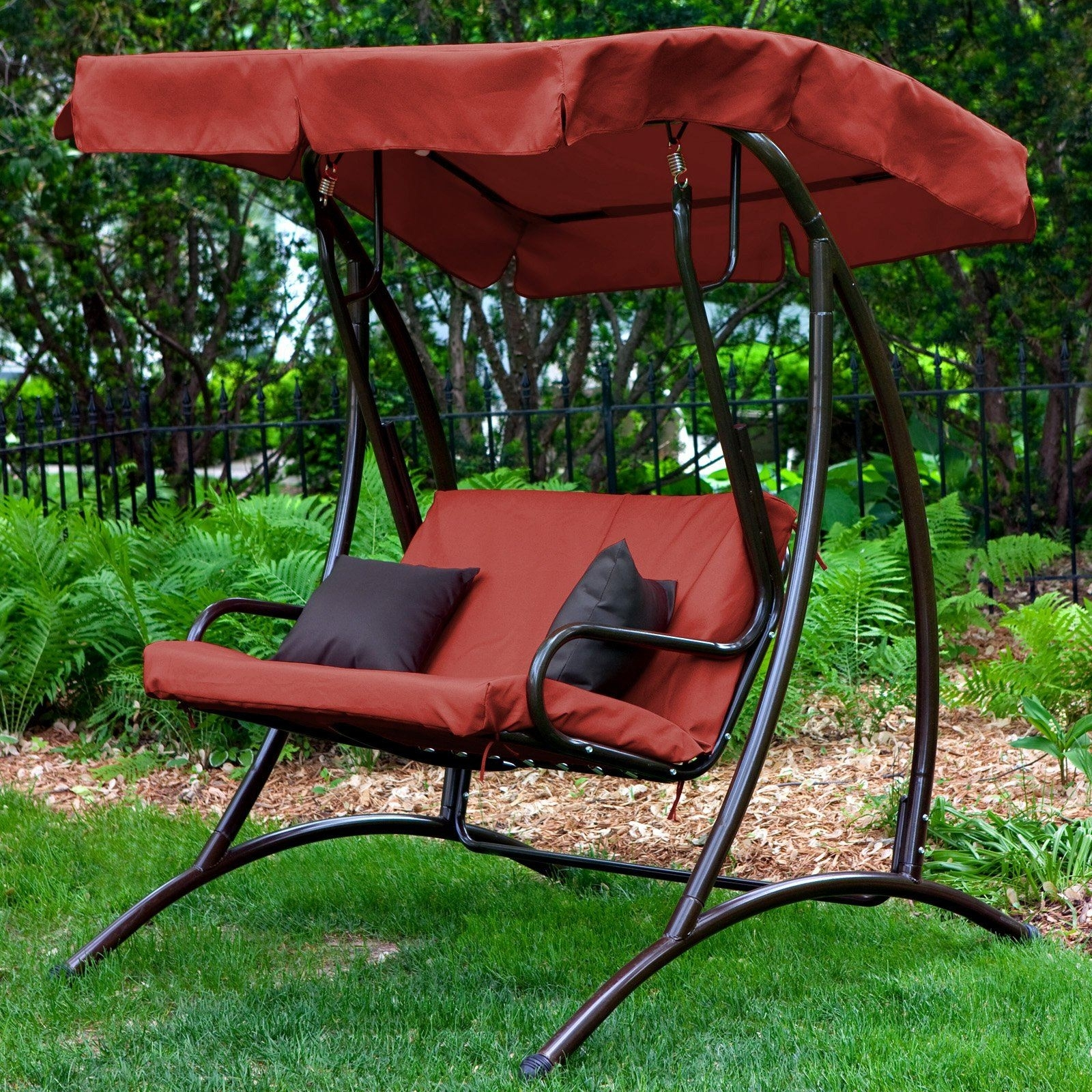 Image of: Swing Chair Sale Double Swing Seat Outdoor Patio Swing With Canopy Throughout Wooden Garden Swing Seats Outdoor Furniture Fun Wooden Garden Swing Seats Outdoor Furniture