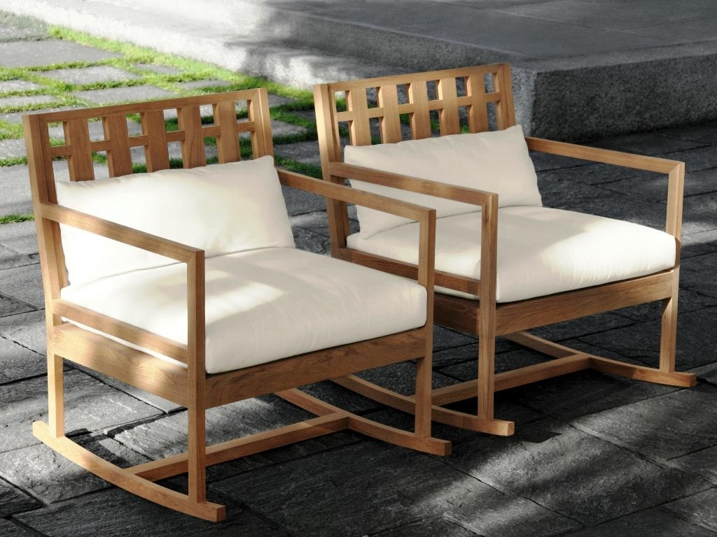 Image of: Teak Rocking Chair Outdoor Furniture Modern Teak Rocking Chair In Modern Teak Outdoor Furniture How To Care Modern Teak Outdoor Furniture