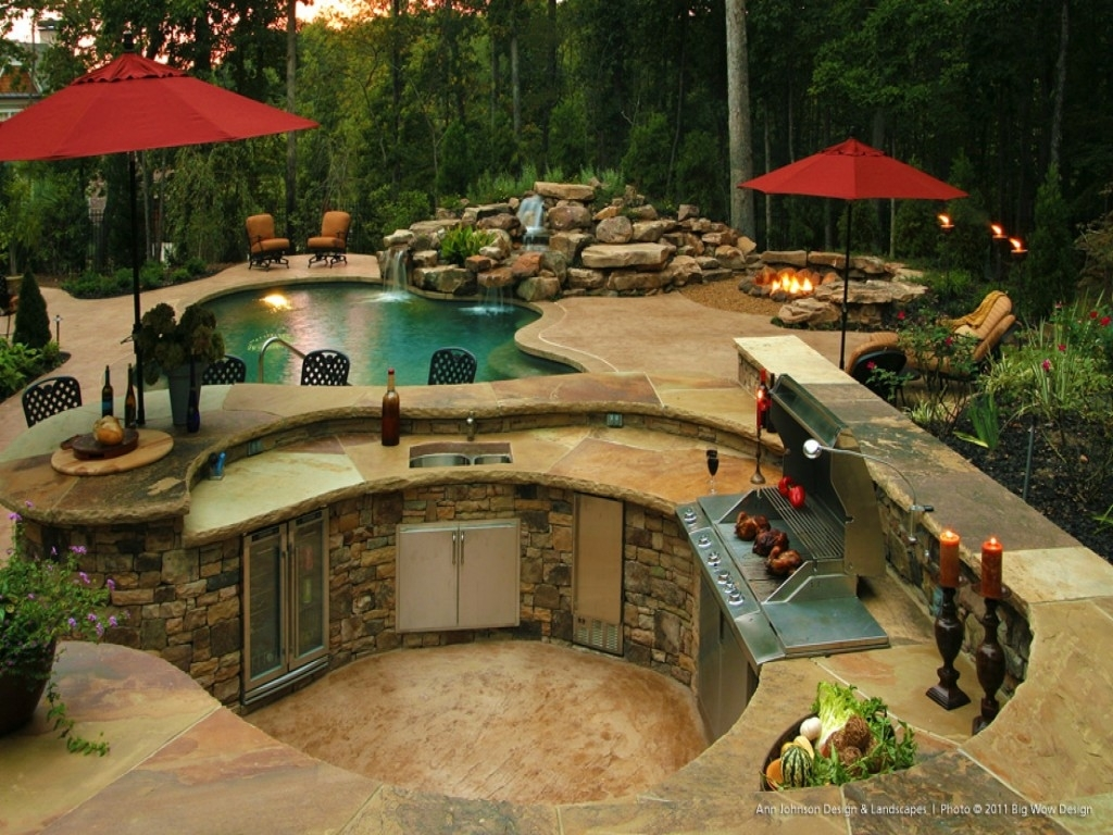 Image of: Top 15 Outdoor Kitchen Designs And Their Costs 24h Site Plans Pertaining To Outdoor Kitchen With Pool Awesome Home Outdoor Kitchen With Pool