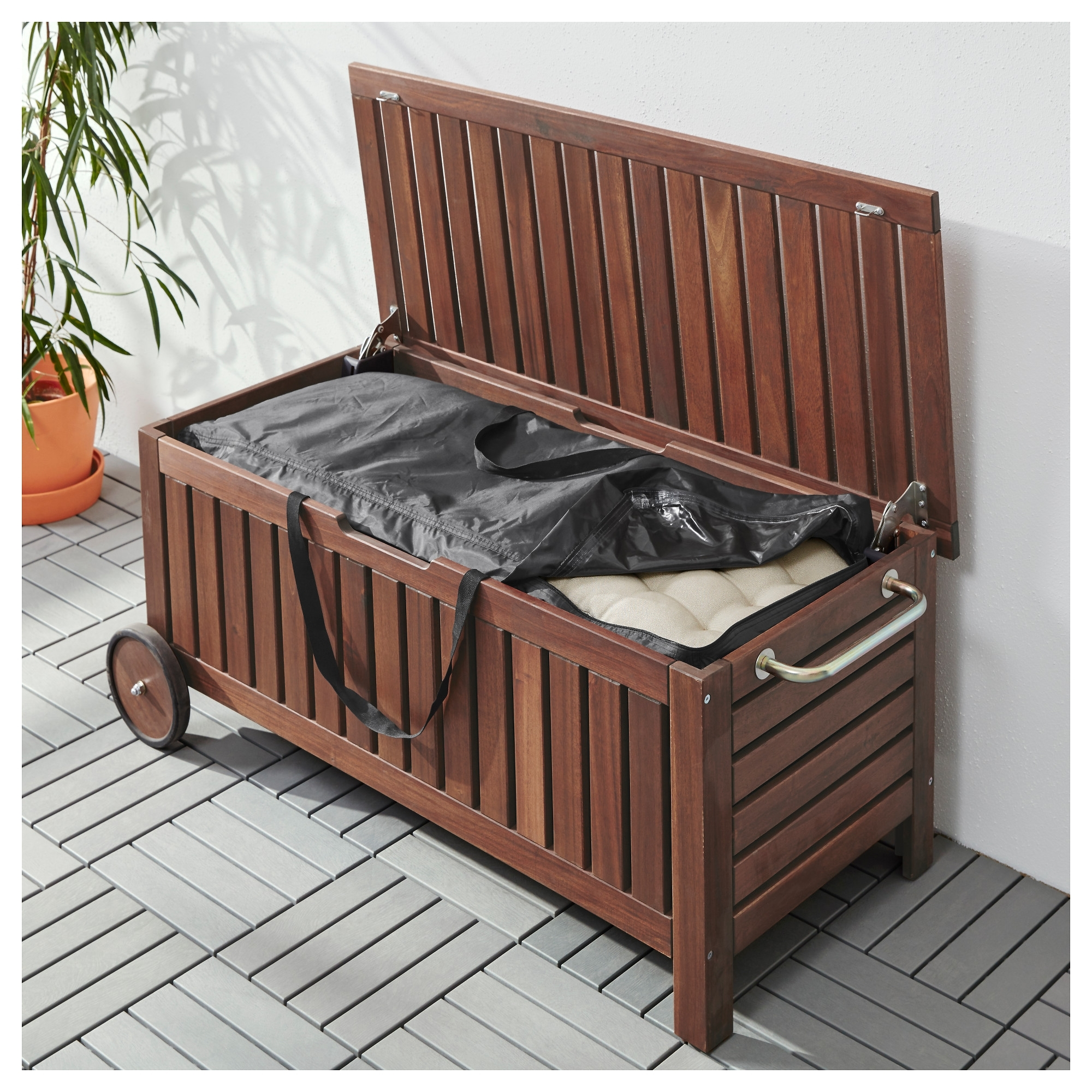 Image of: Toster Storage Bag For Cushions Black 116×49 Cm Ikea Pertaining To Outdoor Cushion Storage Bench Classic Outdoor Cushion Storage Bench