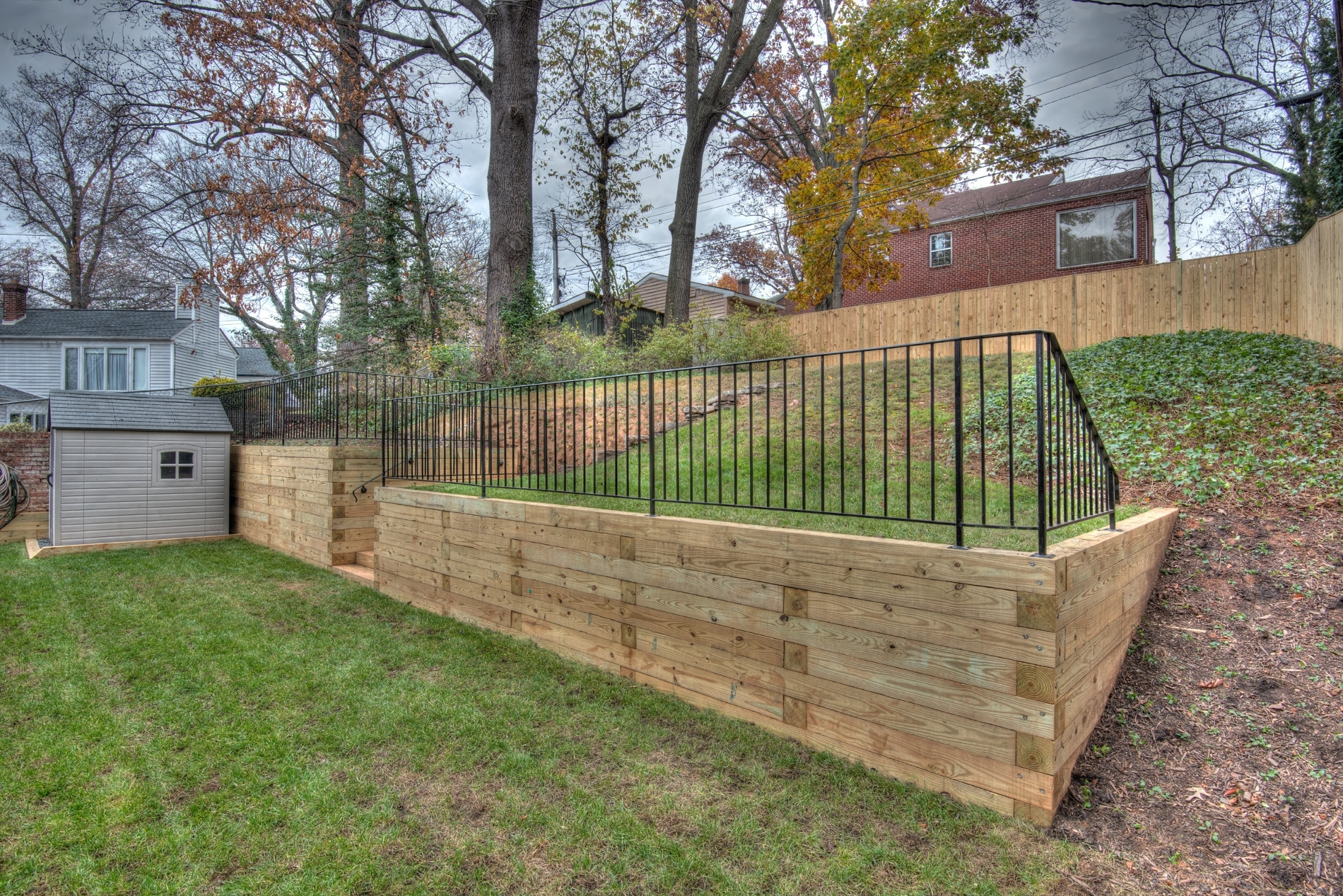 Image of: Whats The Deal With My Retaining Wall Garden City Florascaping With Regard To Landscape Timbers Retaining Wall Durable Landscape Timbers Retaining Wall For Great Decoration